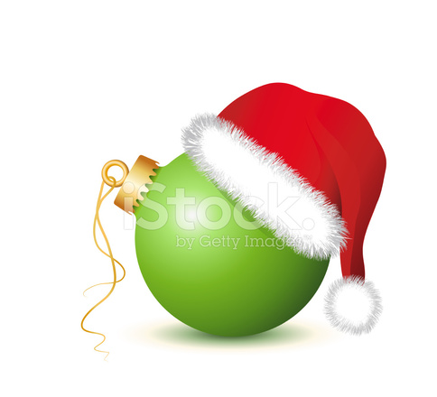 a7a68843d7133 Green Christmas Baubles With Santa Claus Hat Stock Vector ...