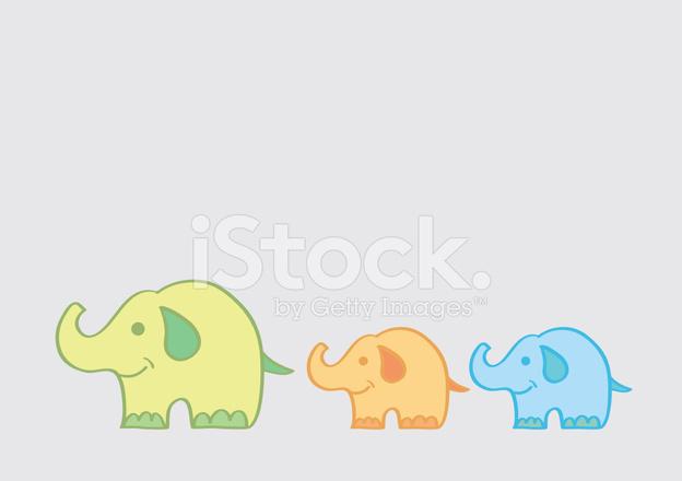 Gran Elefante Llevando Elefantes Pequeos Dibujos Animados