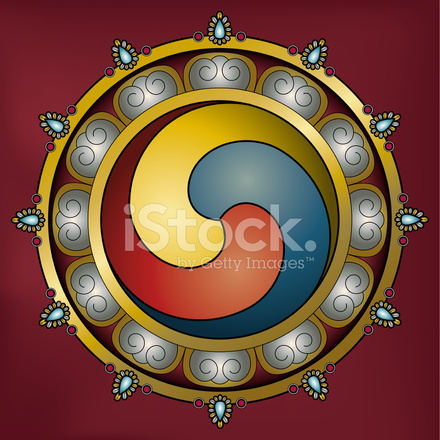 Ornamental Gankyil Wheel Of Joy Tibetan Buddhist Symbol Stock