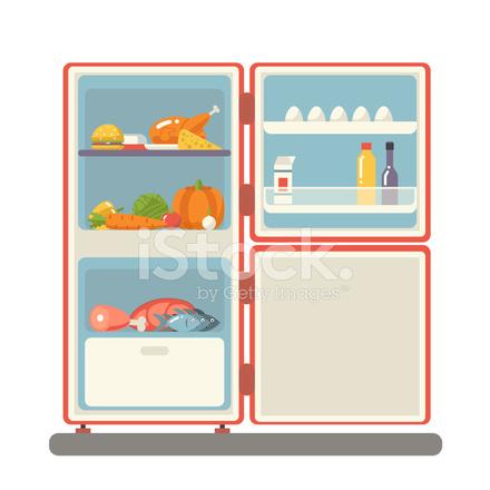 Outdoor Kühlschrank MIT Lebensmittel Produkte Symbol Trendige Flache ...
