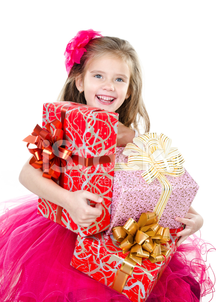 Happy Adorable Little Girl With Christmas Gift Boxes Stock ...