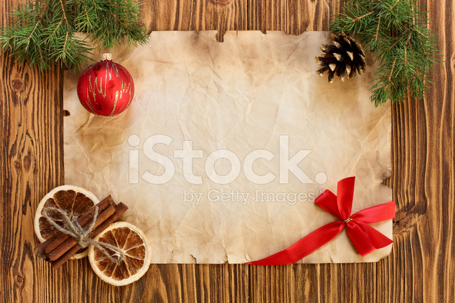 Christmas Decorations On The Old Sheet Of Paper Stock Photos