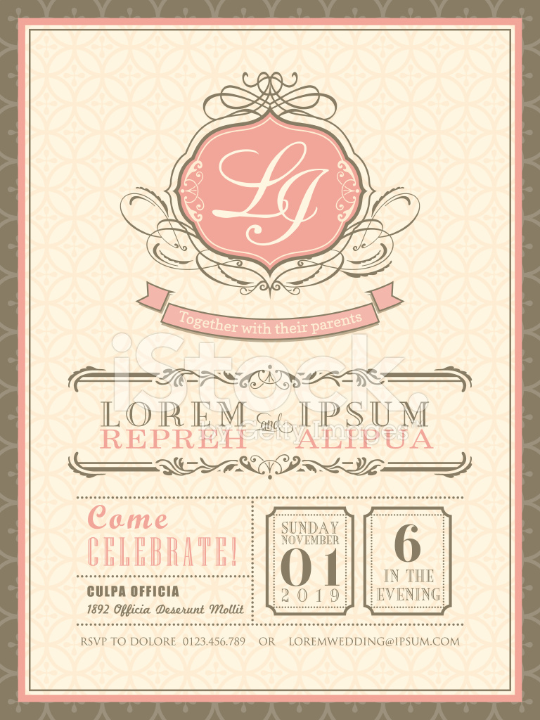 Vintage Pastel Wedding Invitation Card Background Template Stock