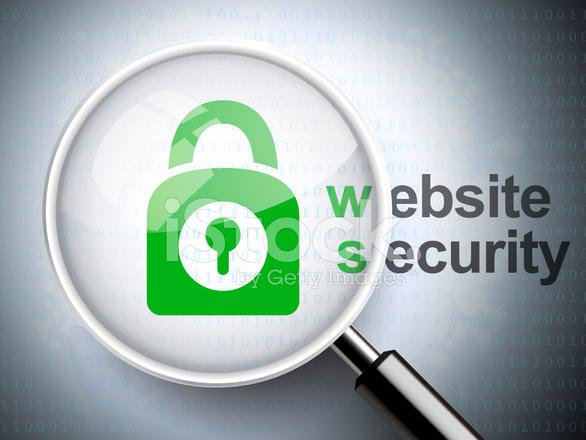 Lupe Mit Vorhngeschloss Symbol Und Website Sicherheit Wort