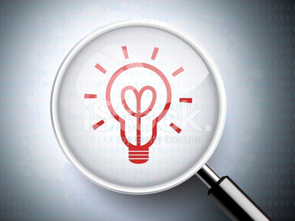 Rood Licht Lamp : Vergrootglas met rood licht lamp pictogram stockfoto s