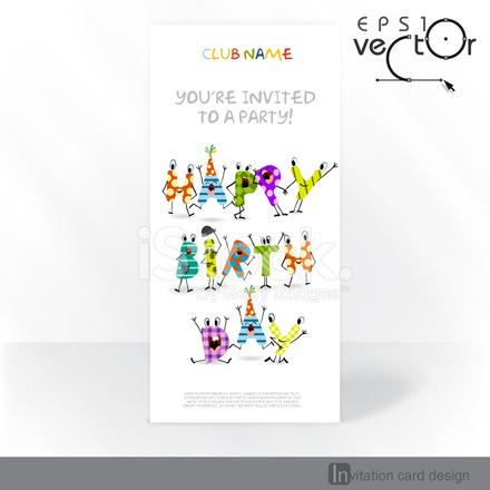 Party Invitation Card Design Template Stock Vector