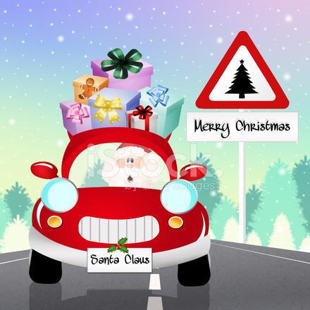 圣诞老人在车上 Stock Vector - FreeImages.com