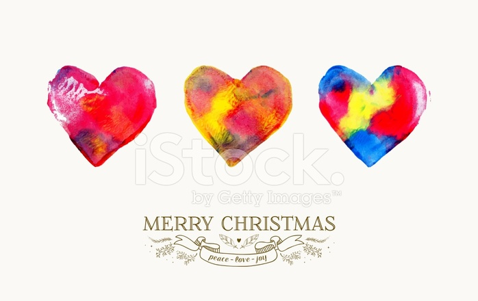 Frohe Weihnachten Liebe.Frohe Weihnachten Liebe Aquarell Grusskarte Stock Vector