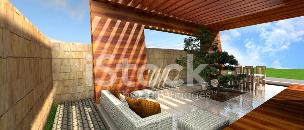 Representación 3d De La Terraza De La Casa Moderna