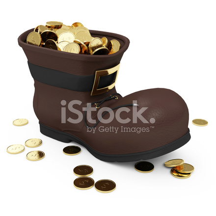 11e008ee7a381 Premium Stock Photo of Santa Boots With Golden Coins Isolated on White  Background