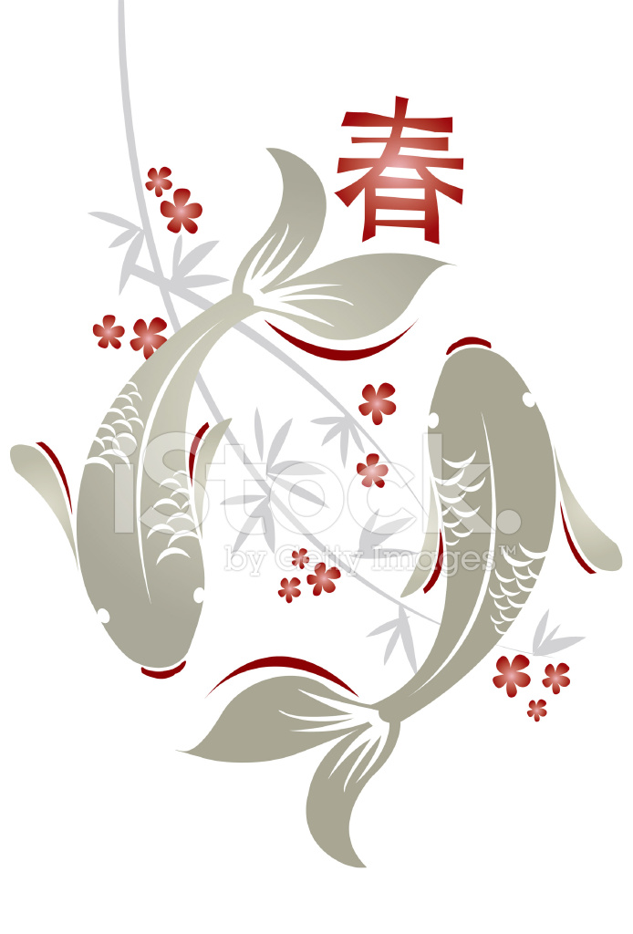 Koi fish and peach blossom stock vector - Dessin poisson simple ...