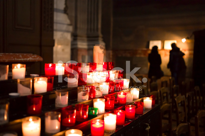 Votive Candles Burning in a Catholic Church. & Votive Candles Burning IN A Catholic Stock Photos - FreeImages.com