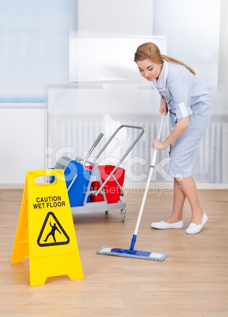 Feliz sirvienta limpiar el piso con un trapeador - Como limpiar piso negro ...