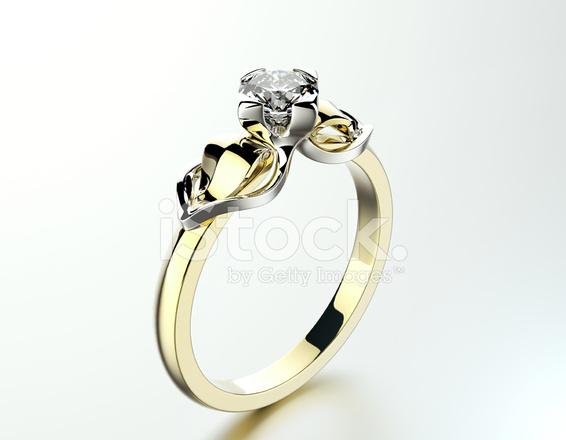 Goldener Verlobungsring Mit Schmuck Hintergrund Stockfotos