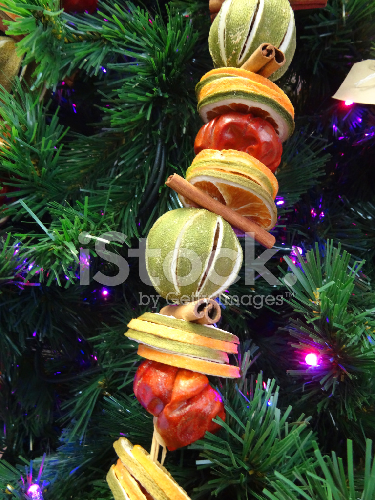Image Of Christmas Tree Decorations Fairy Lights Dried