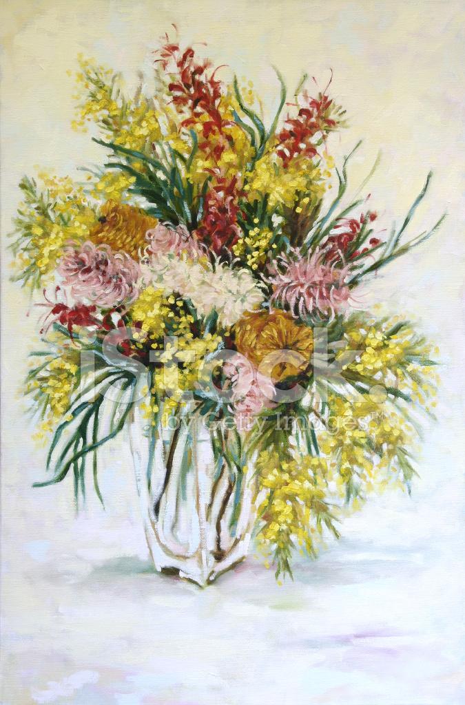 Dipinto AD Olio Natura Morta Fiori Nativi Australiani Fotografie ...