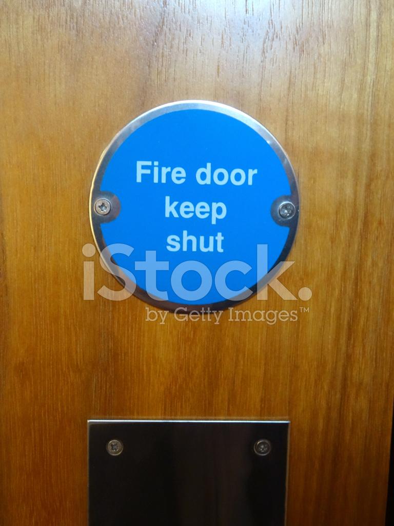 Image Of Circular Blue Fire Door Keep Shut Safety Sign
