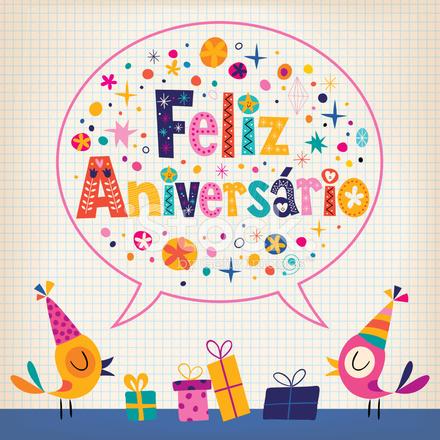grattis på portugisiska Feliz Aniversario Portugisiska På Födelsedagen Grattiskort Stock  grattis på portugisiska