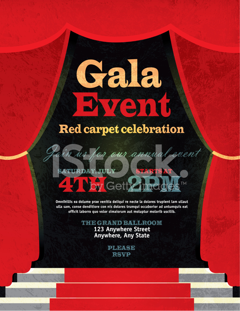 vintage style red curtian gala event invitation template stock