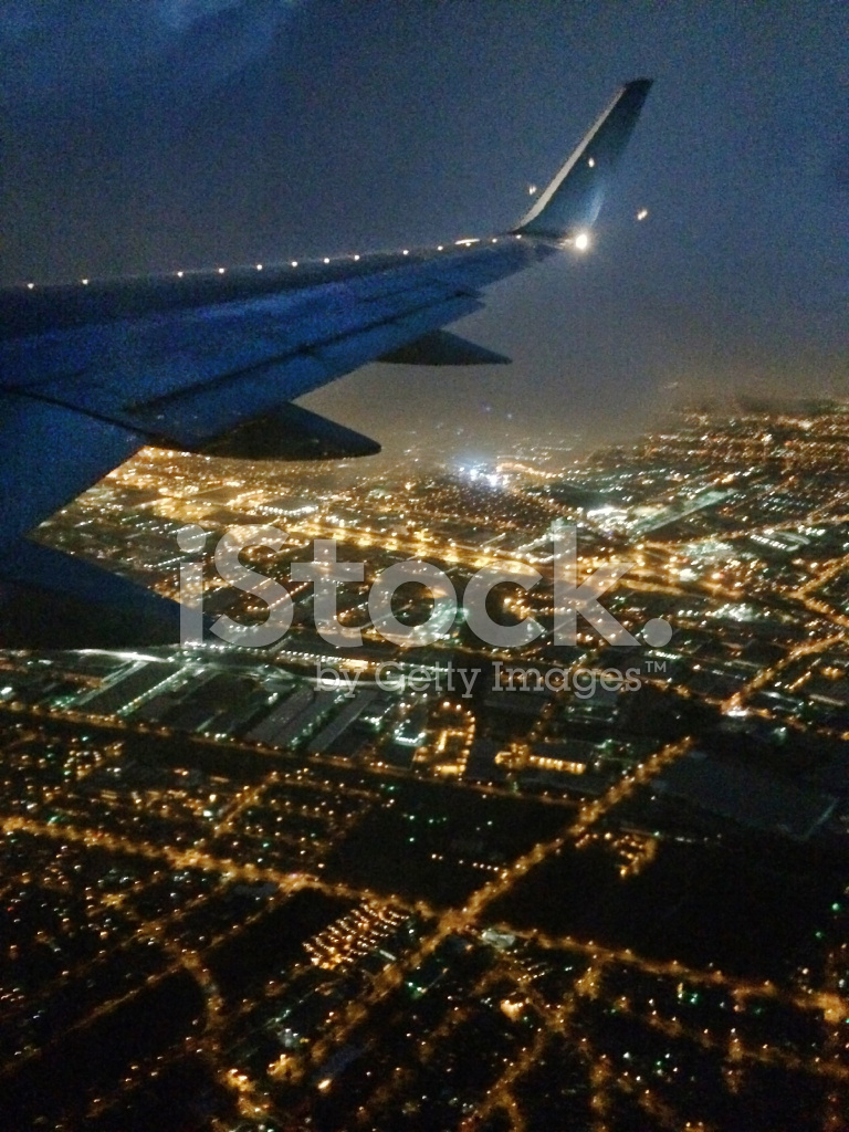 Evening Aerial View Of Los Angeles California From Plane Flight