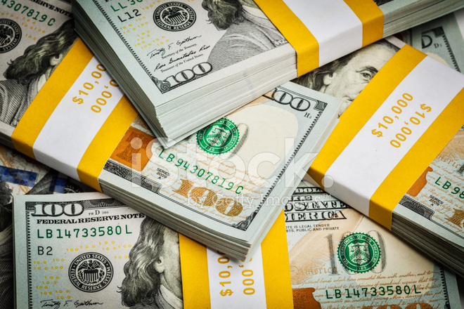 Background of New 100 US Dollars Banknotes Bills Stock s