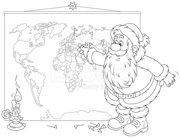 Santa Claus Con Un Mapa Del Mundo Stock Vector - FreeImages.com