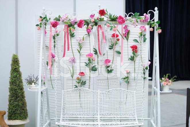 Garden Swing With Flowers As Decoration Stock Photos - garden swing flower designs