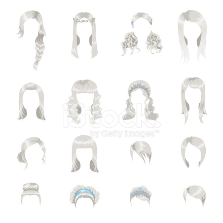 greece hair styles set of sixteen different gray hairstyles for stock 5131