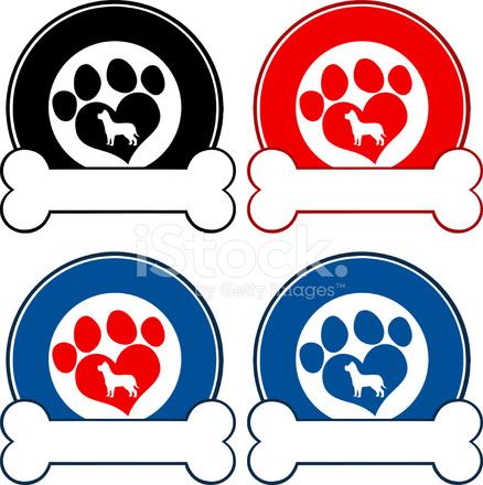 Coleccin DE Logotipo Y Pata DE Perro Y El Hueso 2 fotografas de