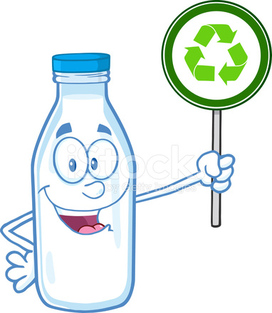 Gülümseyen Süt şişesi Tutarak Geri Dönüşüm Işareti Stock Vector