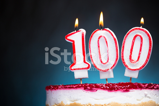 100th Birthday Candles Stock Photos