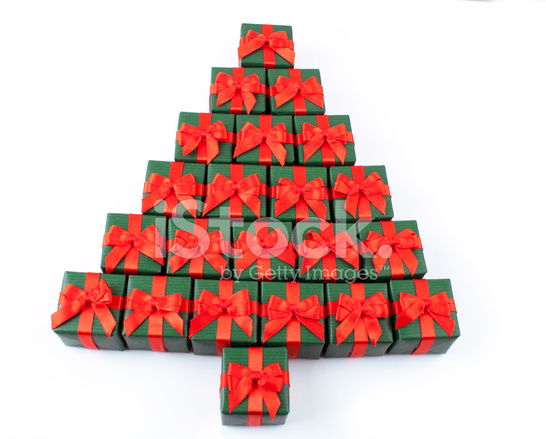 Gift Boxes Stacked Up Like A Christmas Tree Stock Photos