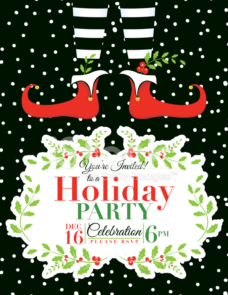 elf christmas party invitation template stock vector freeimages com