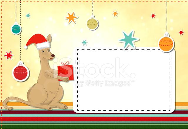 Christmas Kangaroo Cartoon.Funny Kangaroo Celebrating Christmas Stock Vector