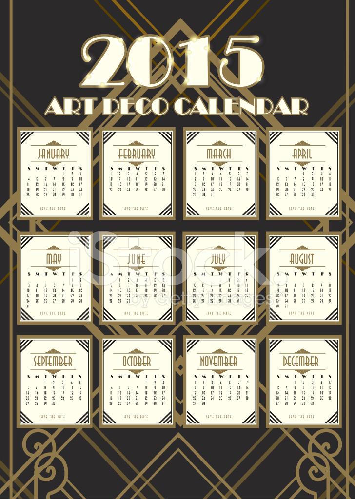 Art Deco Calendar : Art deco style vintage calendar design template stock