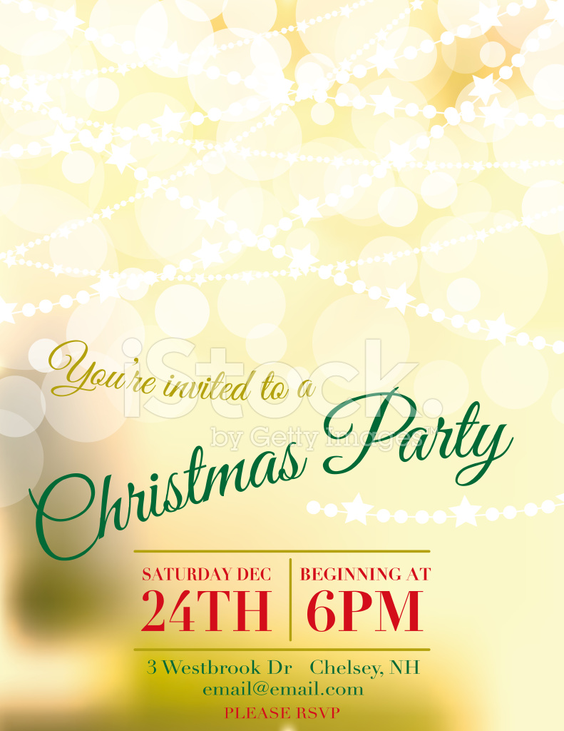 bokeh lights christmas party invitation template stock vector