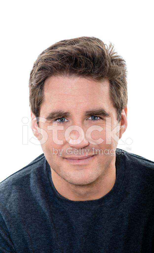 Olgun Yakışıklı Erkek Mavi Gözler Gülümseyen Portre Stok