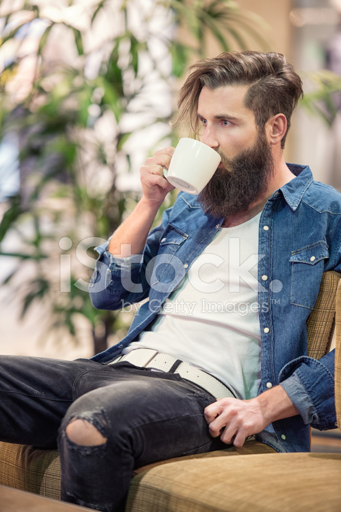 Man With Beard Drinking Coffee Male Fashion Stock Photos