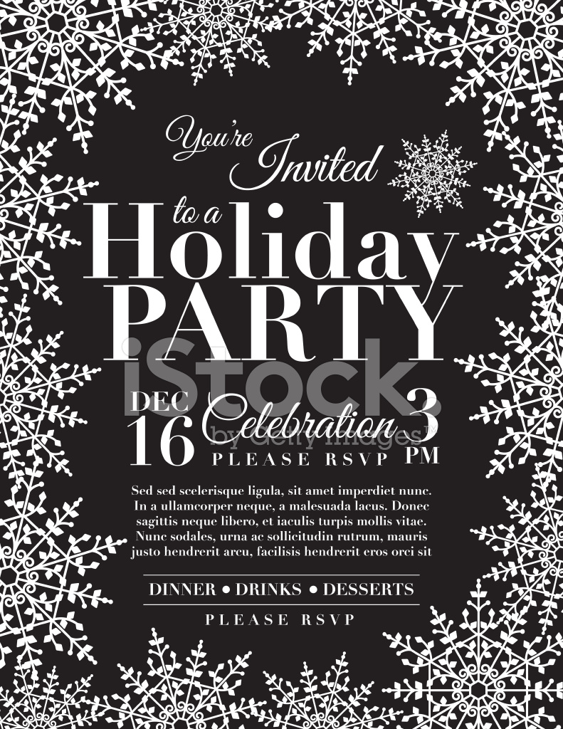 Snowflake Holiday Party Invitation Template Blue Stock Vector ...