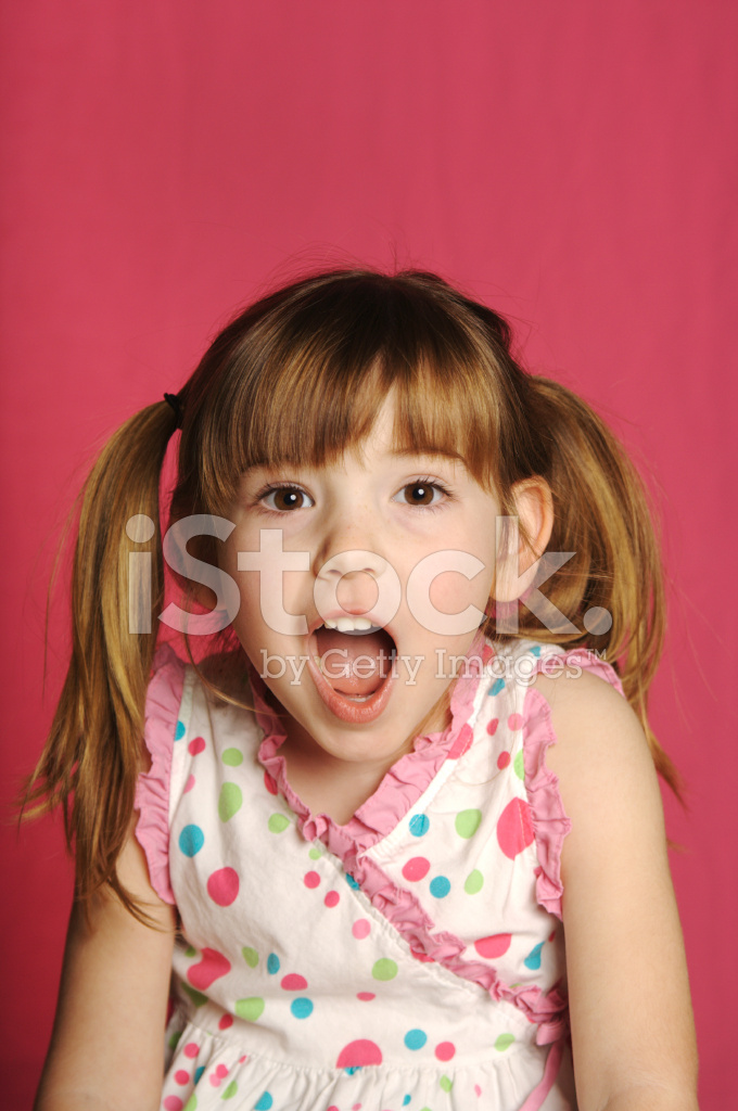 Adorable Four Year Boy With Big Blue Eyes Stock Image: Cute Four Year Old Girl With Pigtails And Pink Background
