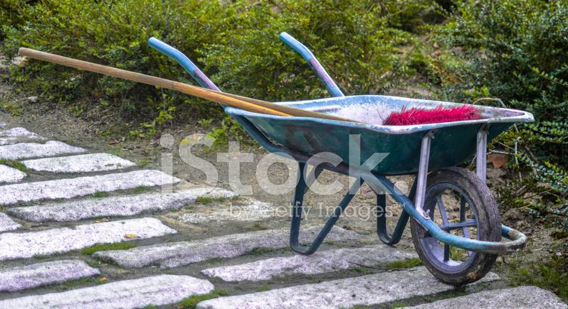 premium stock photo of wheelbarrow and red scrub brush