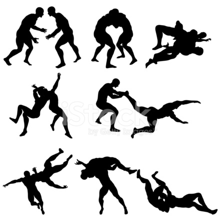 wrestling silhouettes stock vector - freeimages.com wrestling takedown diagram