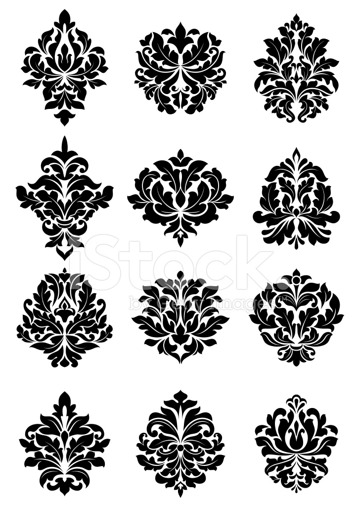 Bold floral arabesque motifs stock vector for Arabesque style decoration
