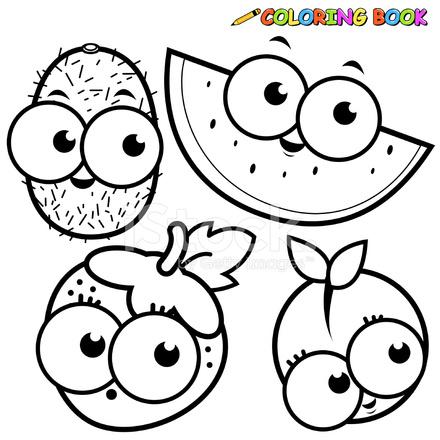Boyama Kitabı Meyve Karikatür Kivi Karpuz çilek şeftali Ayarla Stock