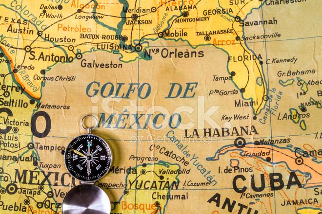 Gammal Karta Over Mexikanska Golfen Och Karibiska Havet Stockfoton