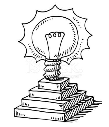 Illuminated Light Bulb Steps Idea Drawing Stock Vector