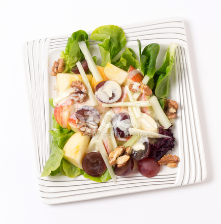 Waldorf Salatası üzerine Beyaz Yukarıda Stok Fotoğrafları