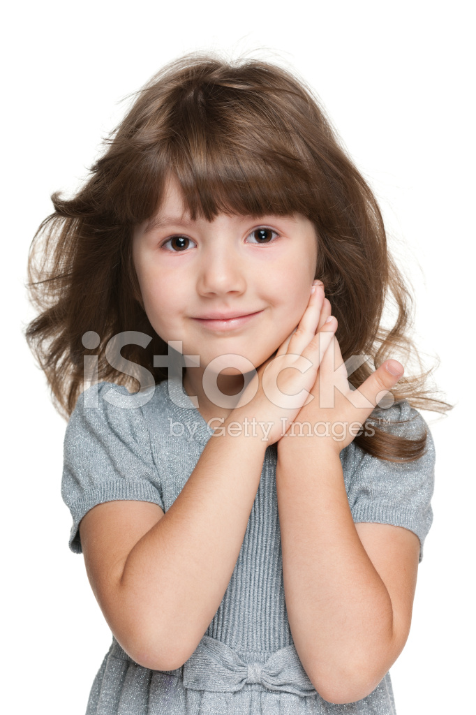 Shy Little Girl Against The White Stock Photos