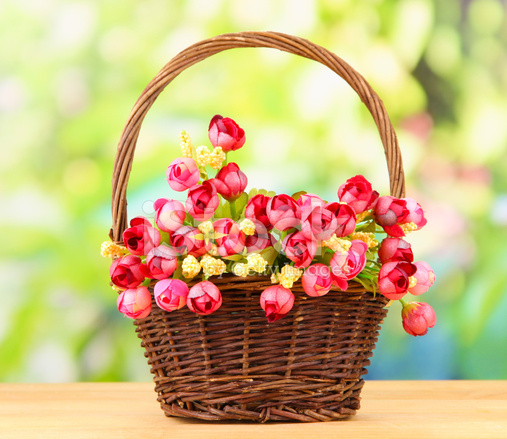 Bouquet Of Beautiful Artificial Flowers Basket On Wooden
