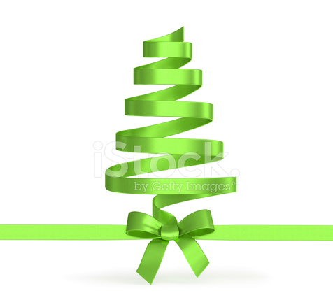 Christmas Tree From Ribbons Isolated Stock Photos